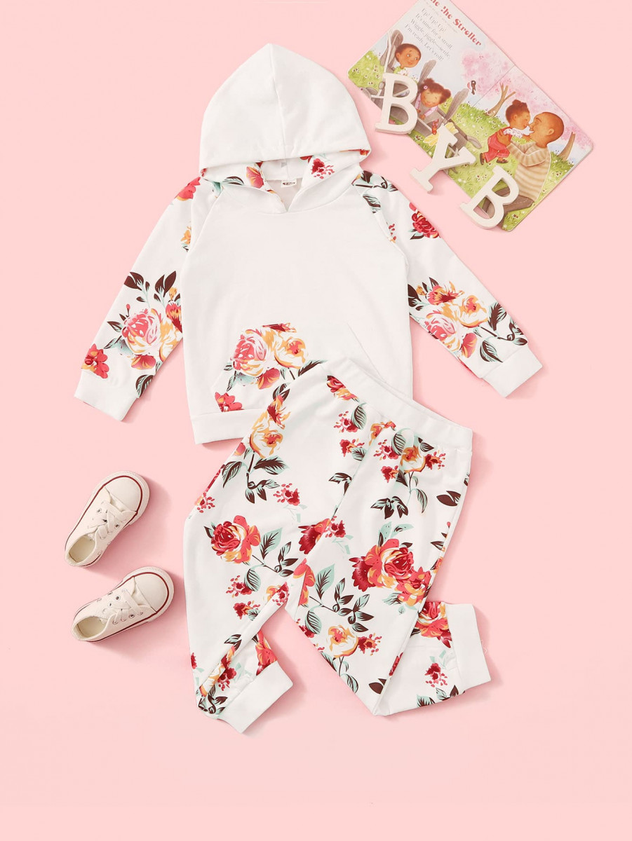 Toddler Girls Floral Print Kangaroo Pocket Hoodie With Pants