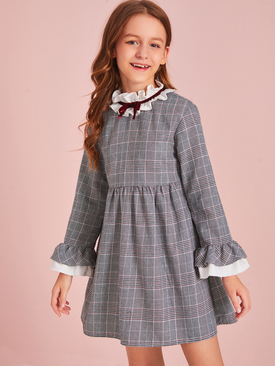 Girls Contrast Ruffle Neck Plaid Flare Dress