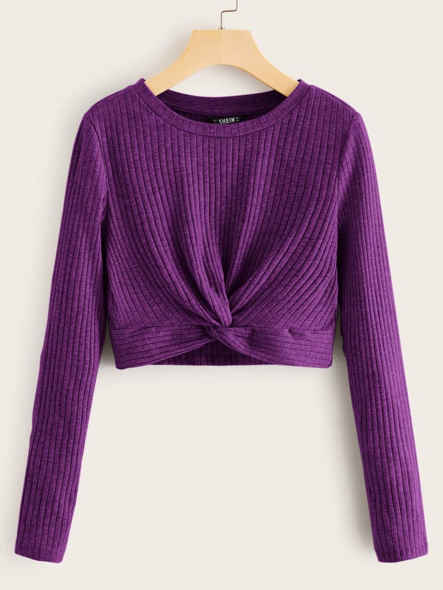 Twist Hem Rib-knit Top