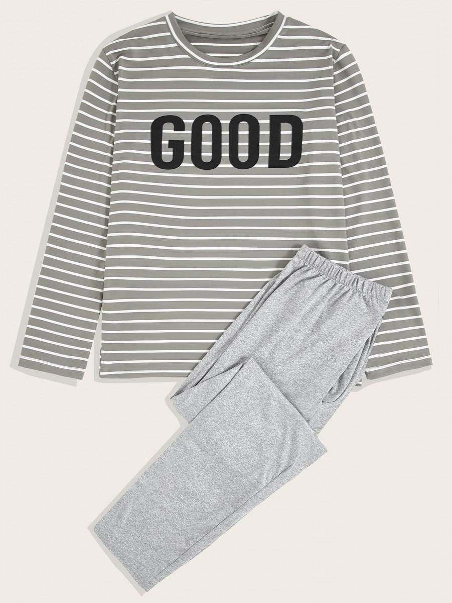 Men Letter Graphic Tee & Pants PJ Sets