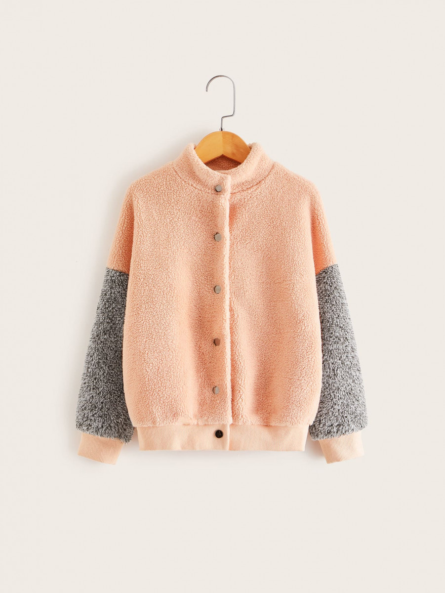 Girls Single Breasted Colorblock Sleeve Teddy Jacket