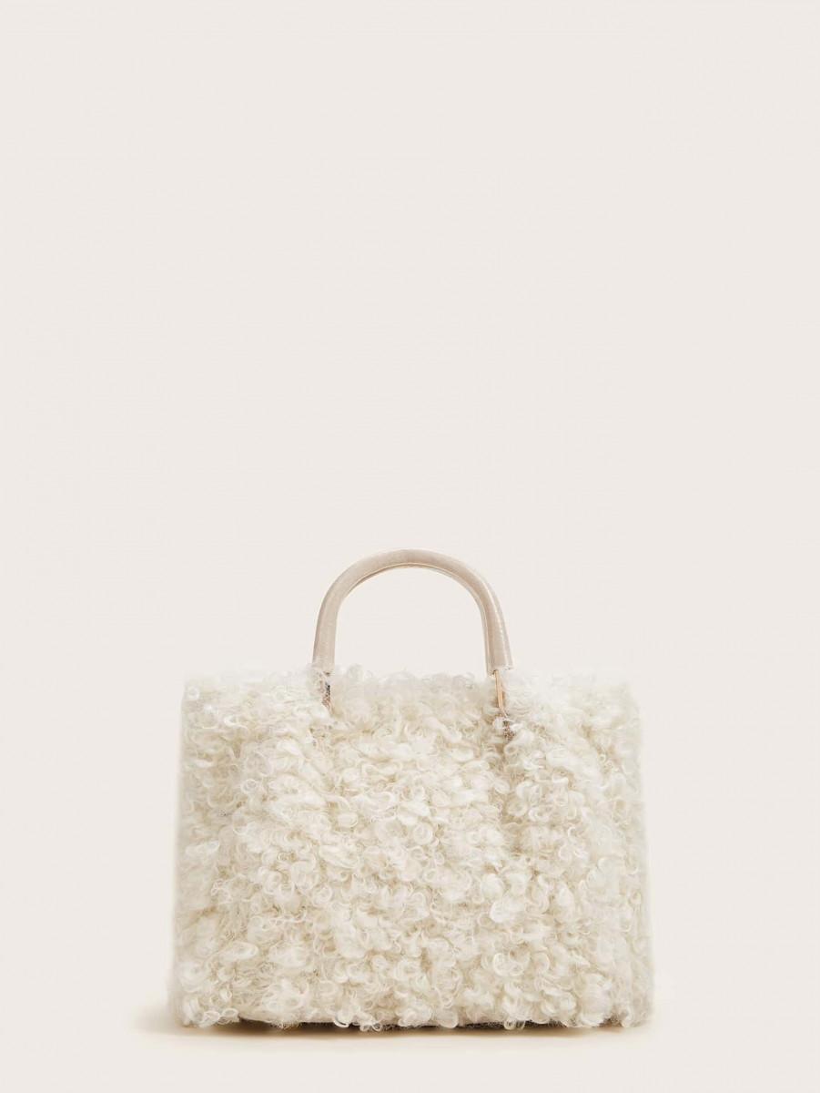 Faux Fur Decor Satchel Bag