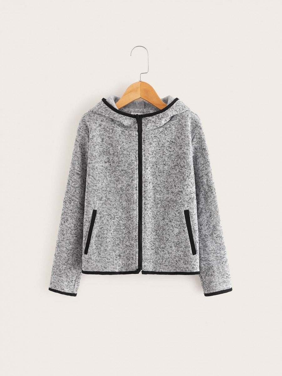 Boys Zip Up Contrast Binding Hooded Jacket
