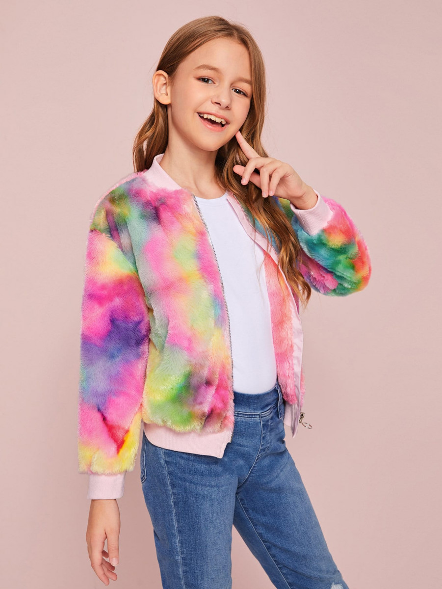 Girls Tie Dye Zipper Up Faux Fur Bomber Jacket