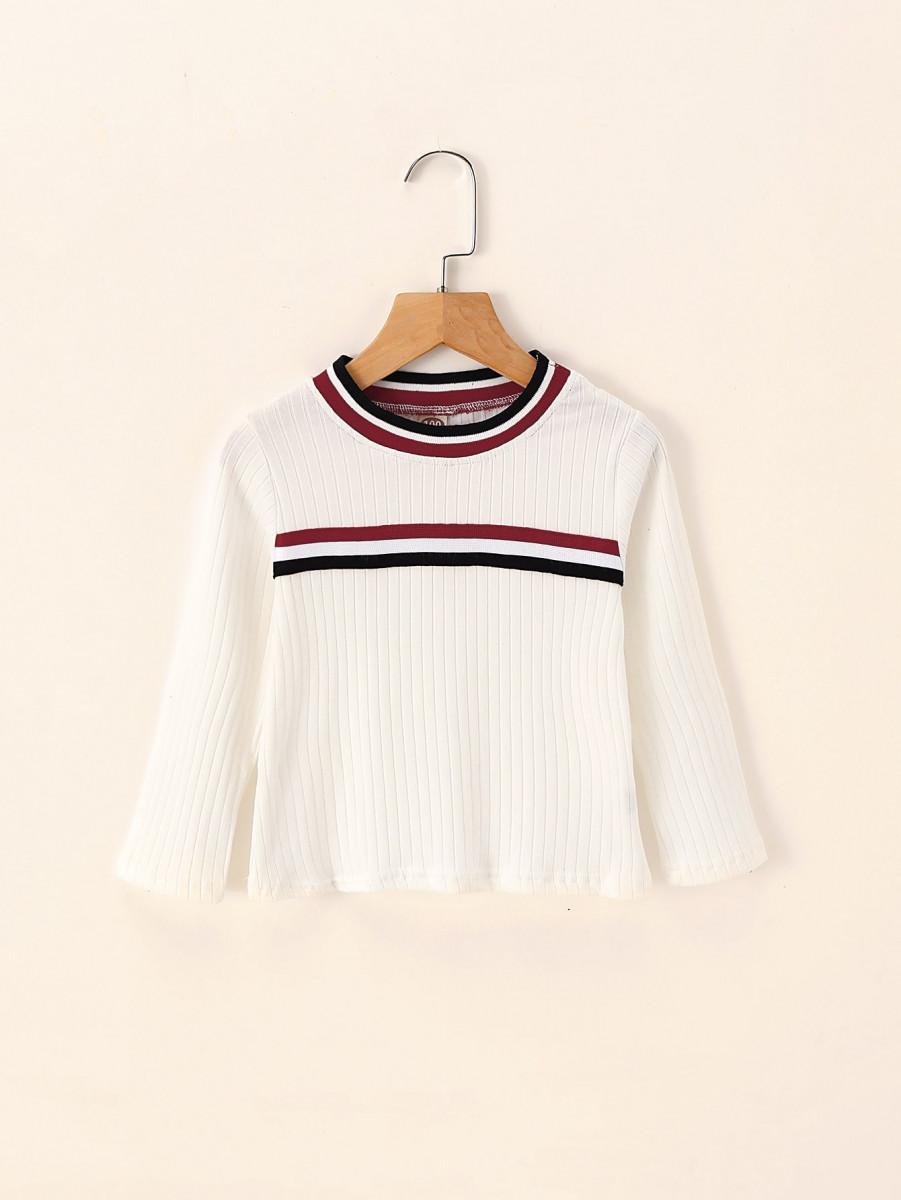 Toddler Girls Striped Tape Rib-knit Tee