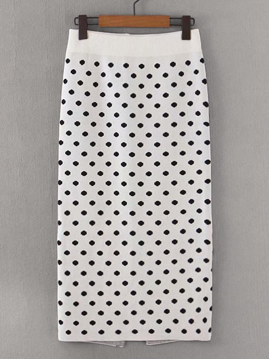 Polka Dot Split Hem Sweater Skirt