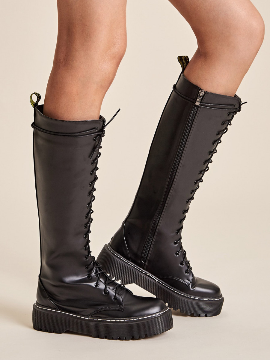 Lace-up Front Side Zip Knee High Boots