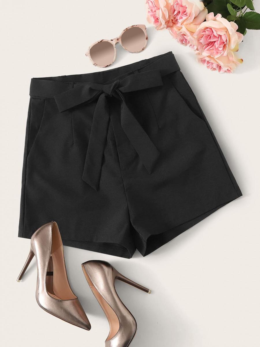 Solid Self Tie Slant Pocket Shorts