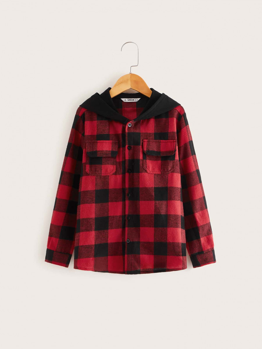 Boys Flap Pocket Front Gingham Print Hooded Shirt