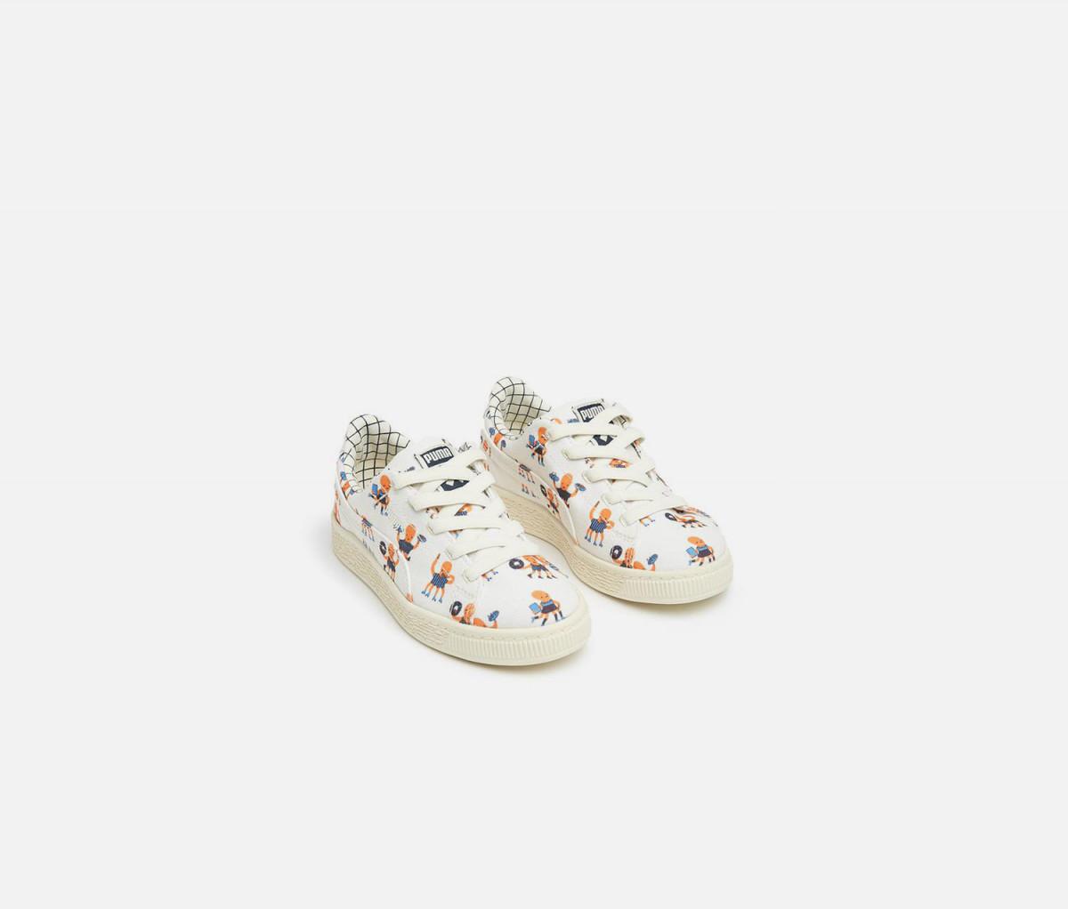 Puma Junior Boys Tiny Cotton Basket Casual Shoes  Whisper White