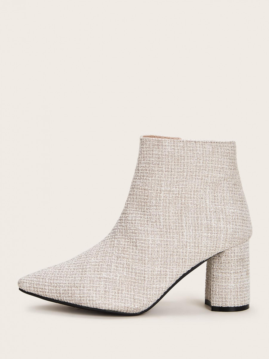 Point Toe Tweed Side Zip Boots
