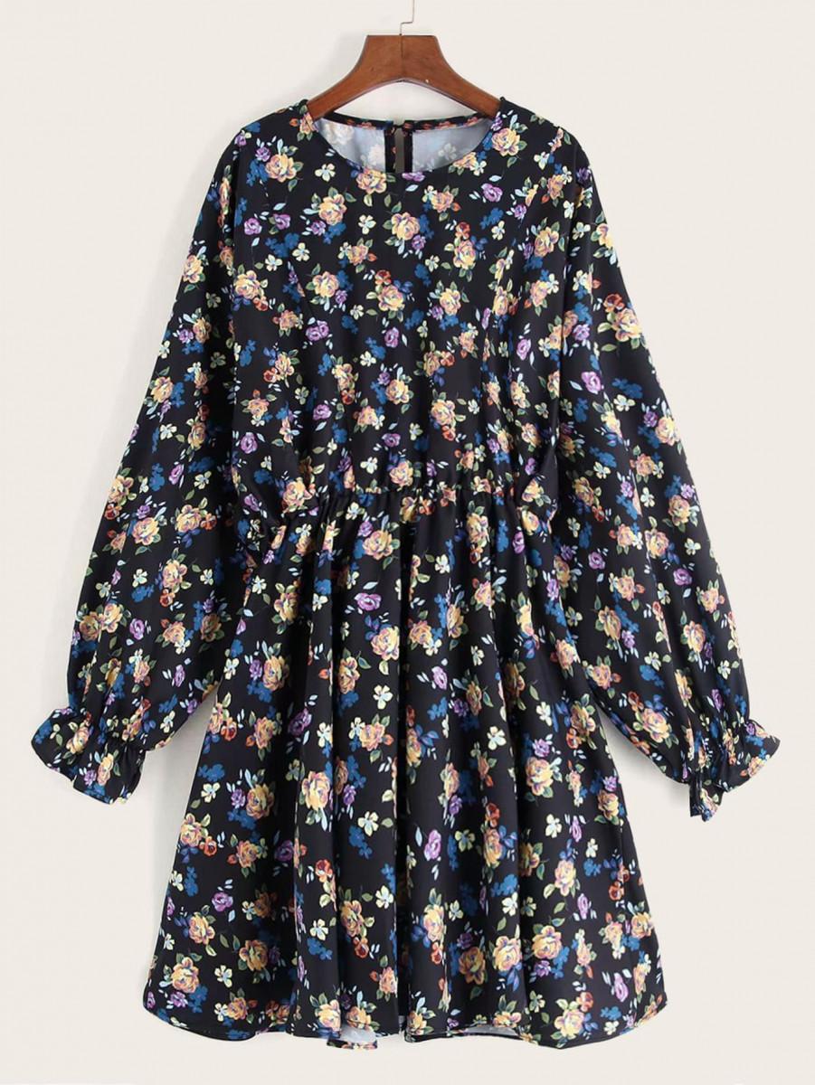 Floral Print Flounce Sleeve Swing Dress