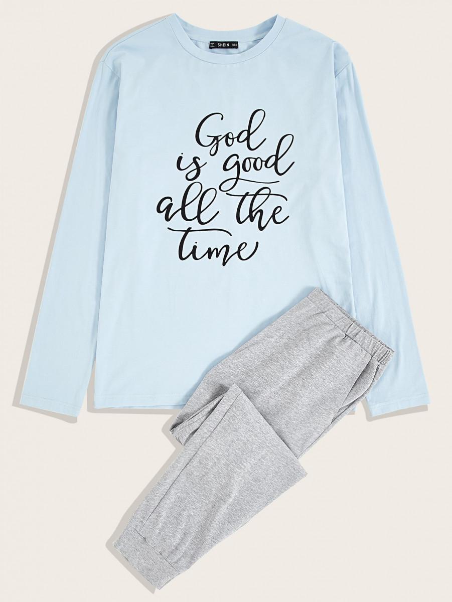 Men Slogan Graphic Tee & Pants PJ Set