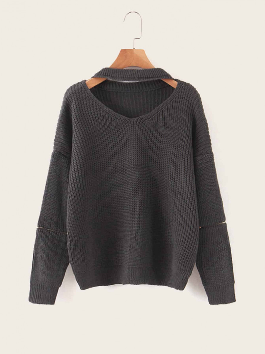Solid Cut Out Ribbed Knit Sweater