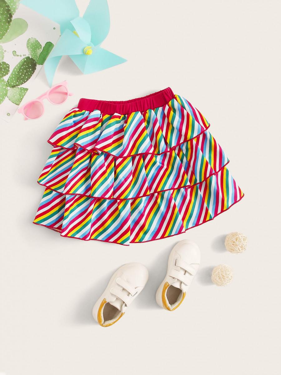 Toddler Girls Rainbow Stripe Tiered Layer Skirt