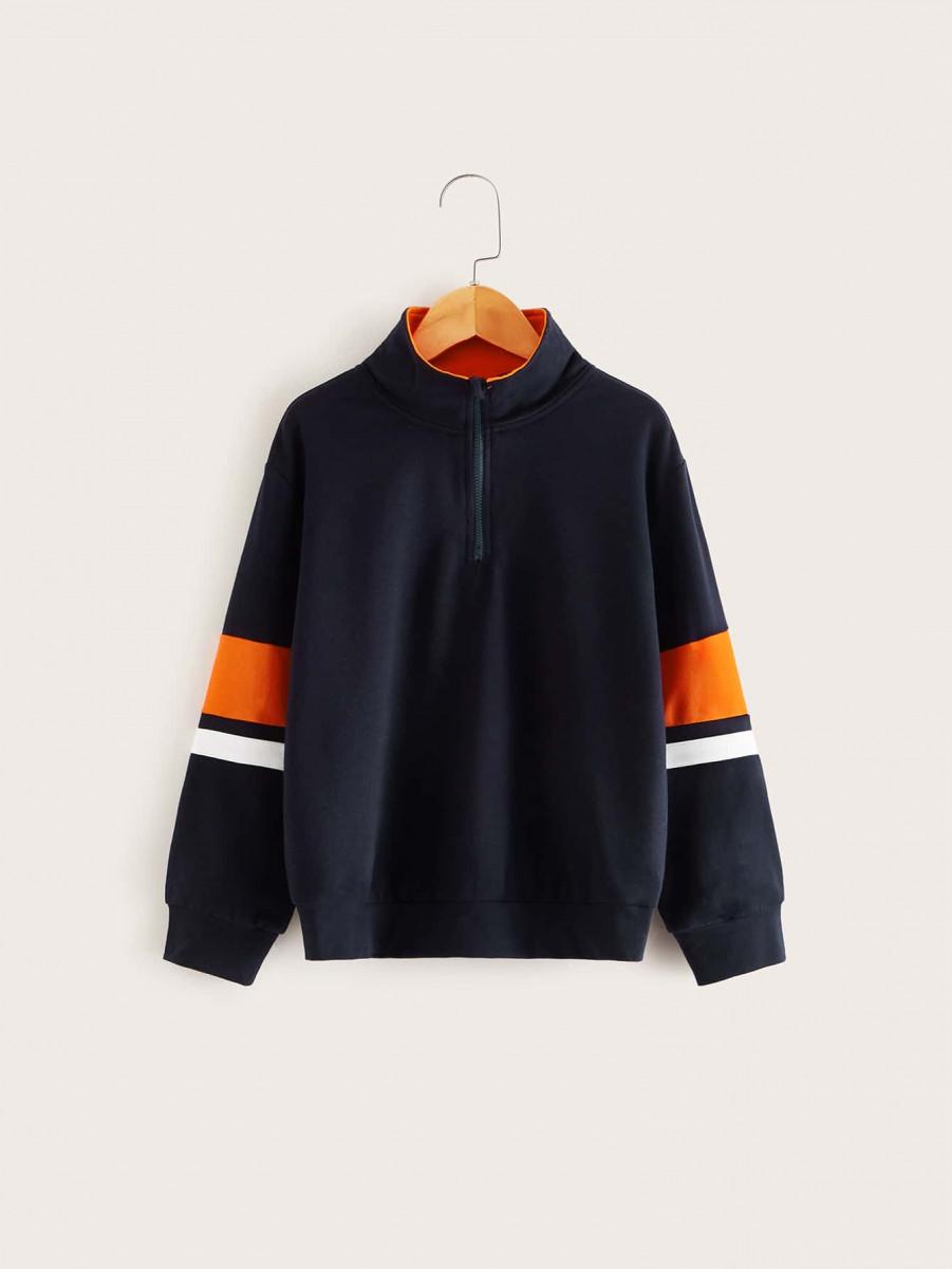 Boys Zip Half Placket Striped Sleeve Sweatshirt