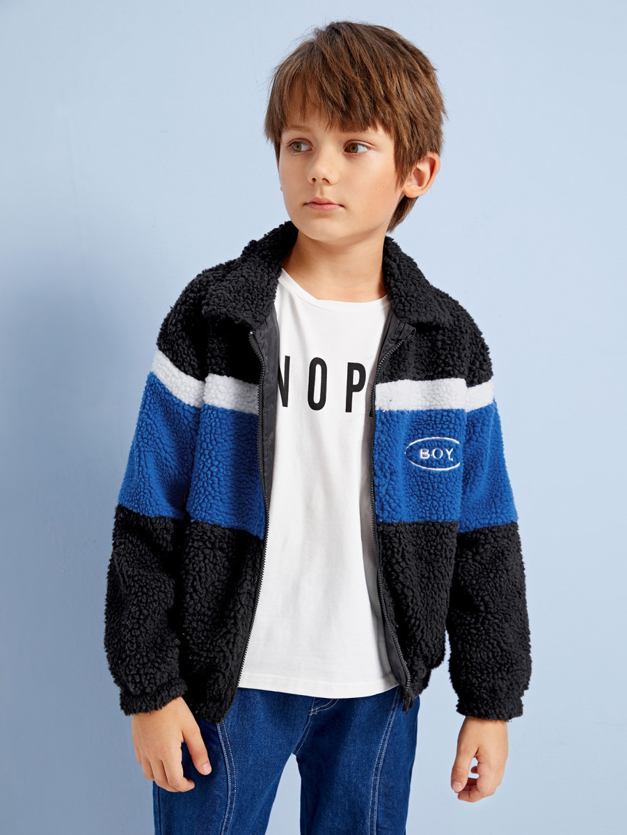 Boys Embroidery Detail Colorblock Teddy Jacket