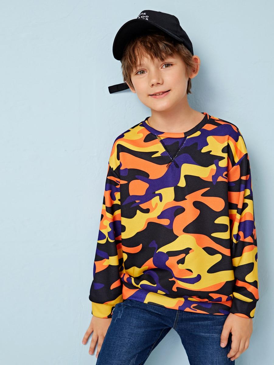 Boys Stitch Detail Camo Print Pullover