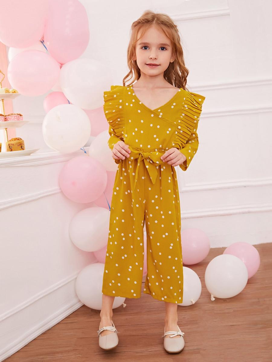 Toddler Girls Polka Dot Pleated Trim Belted Culotte Jumpsuit