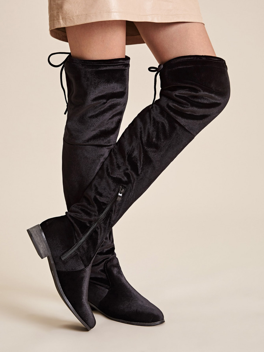 Tie Back Side Zip Thigh High Boots