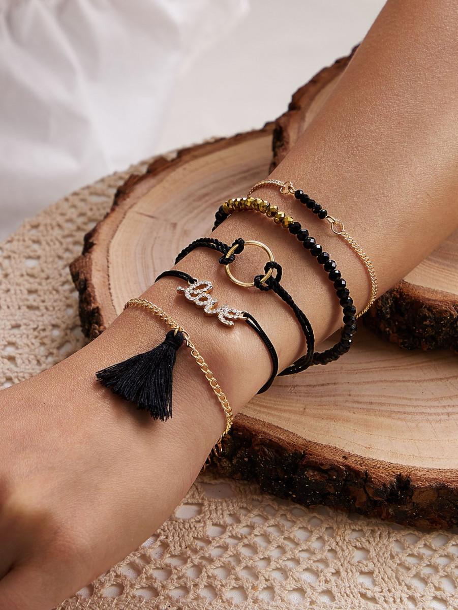 5pcs Rhinestone Decor Tassel Charm Bracelet