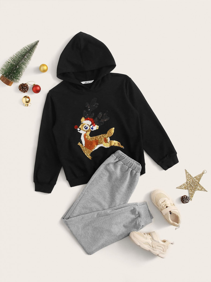 Boys Christmas Sequin Cartoon Graphic Hoodie & Sweatpants Set