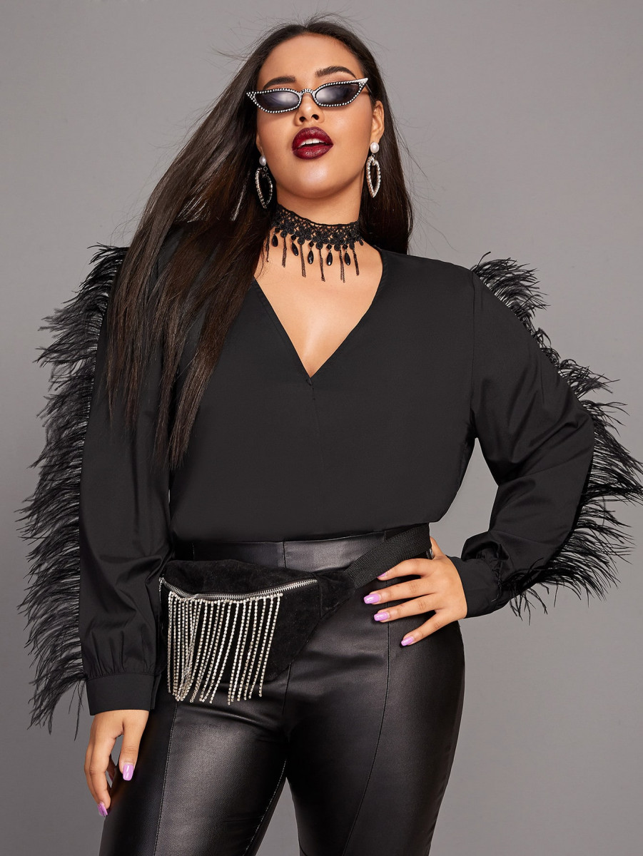 Plus Faux Feather Detail Solid Blouse Without Choker