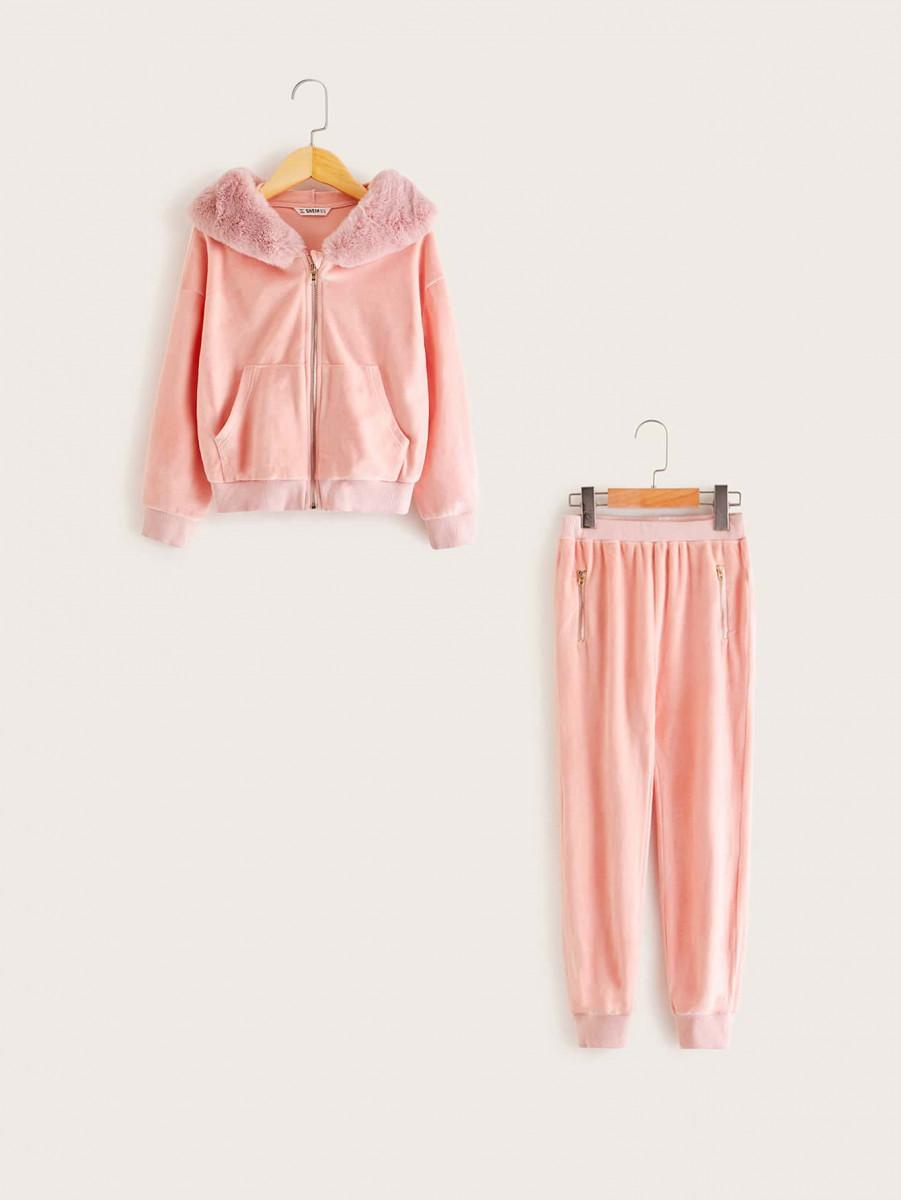 Girls Drop Shoulder Zipper Up Faux Fur Hoodie & Pants Set