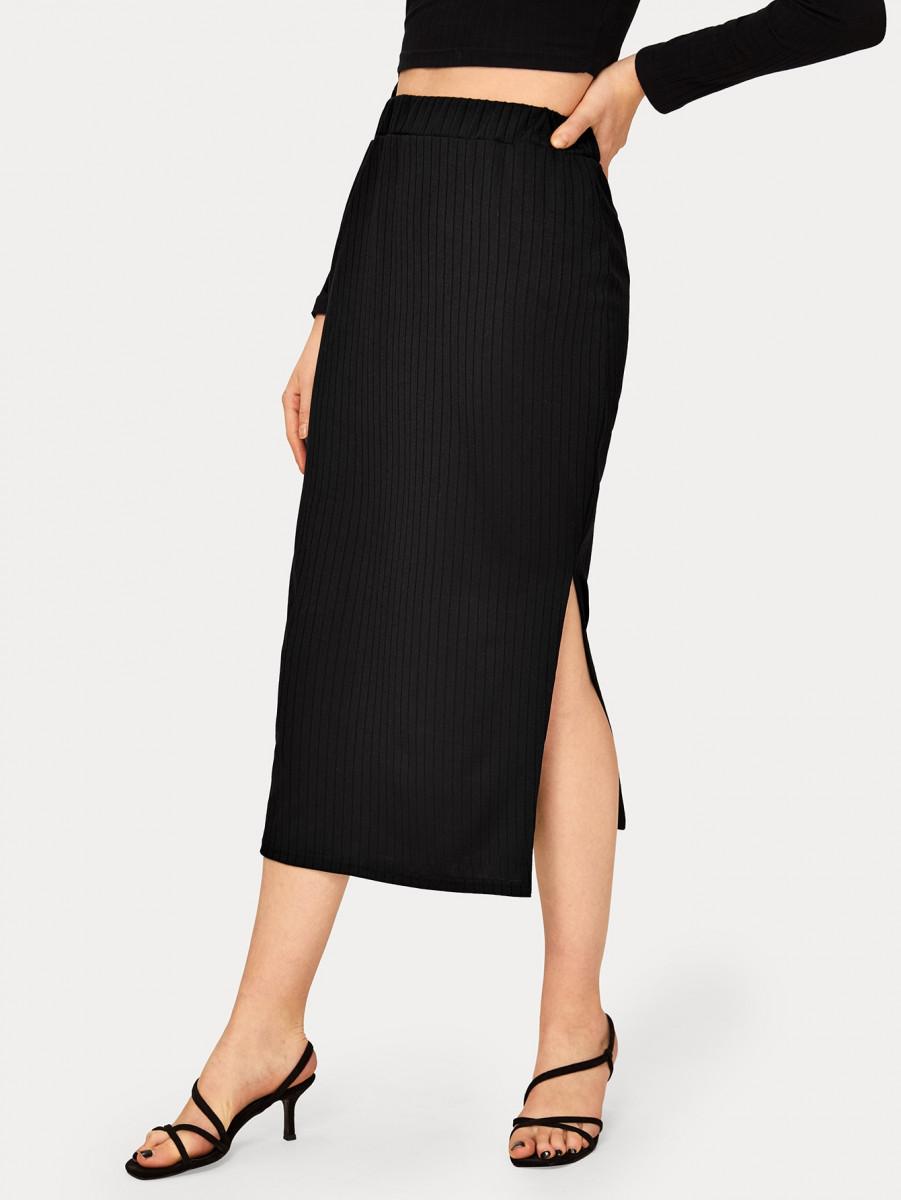 Solid Slit Hem Ribbed Skirt