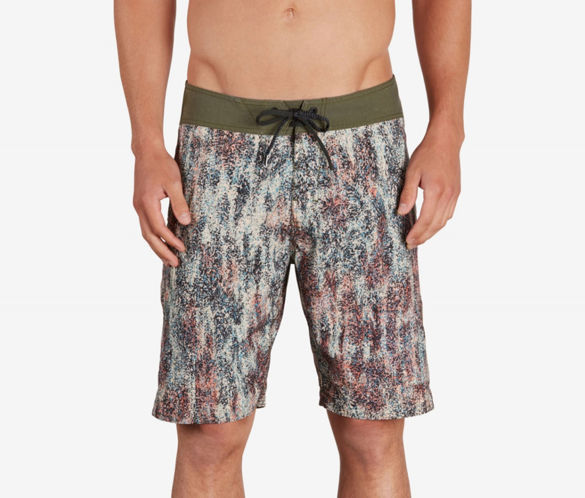 Mens Volcom Plasm Mod Board Shorts  Olive/Red/Blue