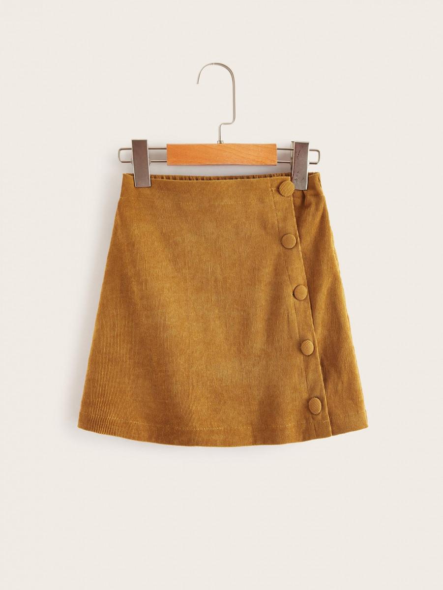 Girls Button Up Cord Skirt