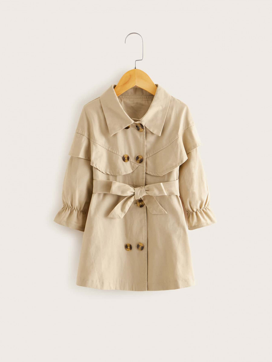 Toddler Girls Flounce Sleeve Belted Trench Coat