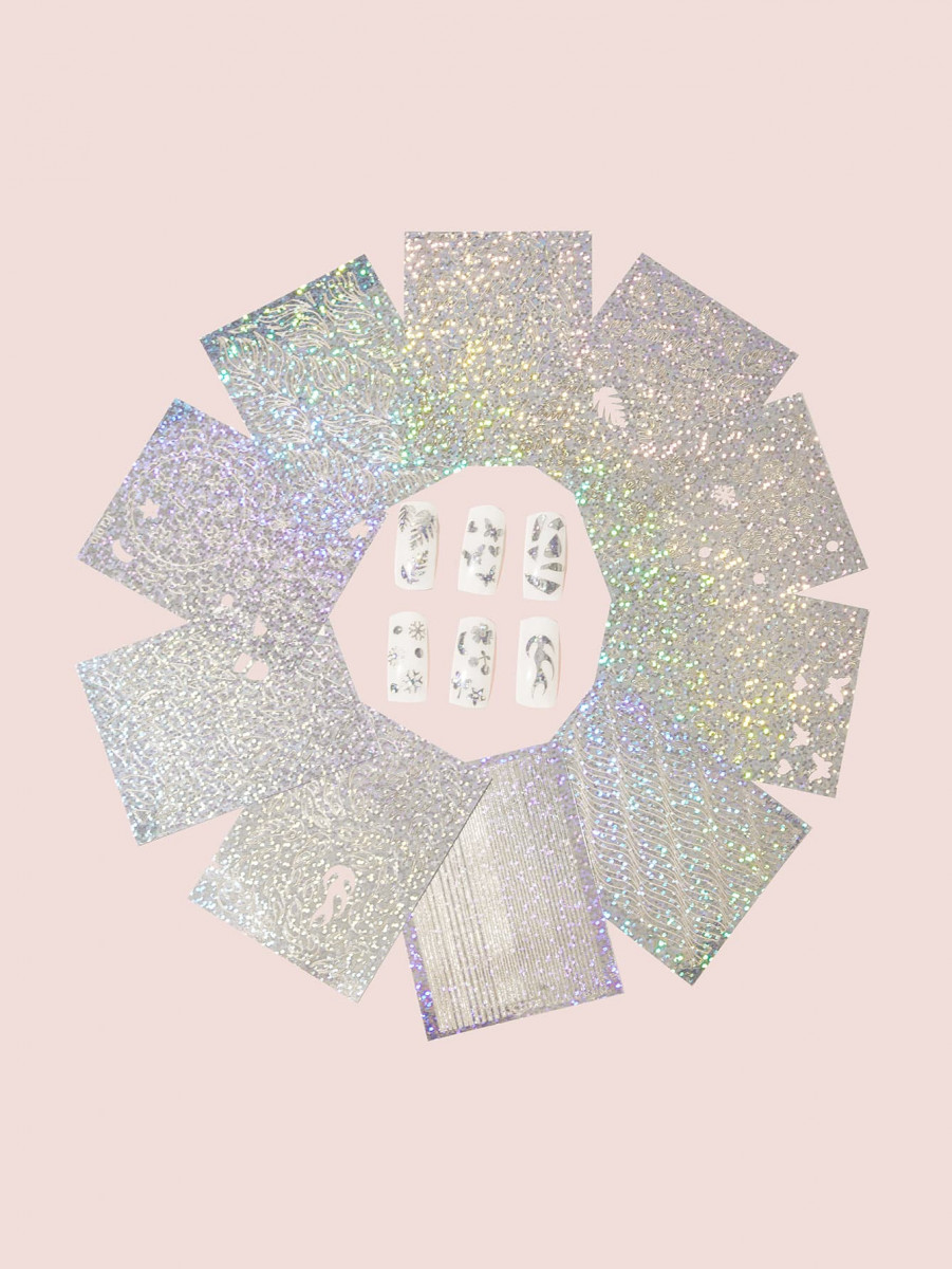 10sheets Glitter Nail Stickers