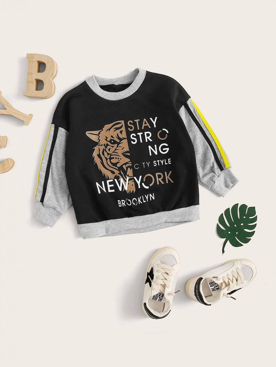 Toddler Boys Contrast Panel Side Stripe Tiger Print Sweatshirt