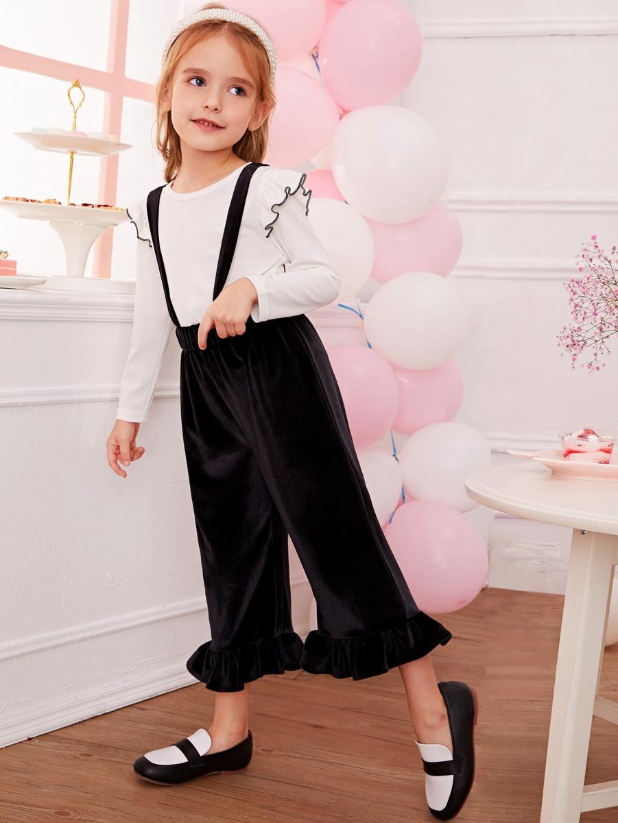 Toddler Girls Ruffle Tee & Velvet Pinafore Pants