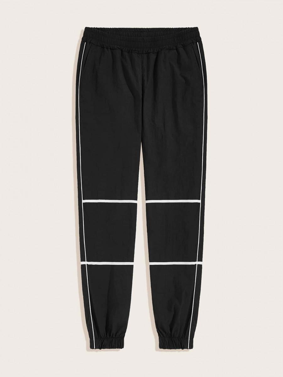 Men Tape Contrast Elastic Waist Pants