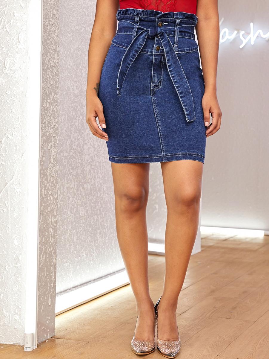 Paperbag Waist Bodycon Denim Skirt