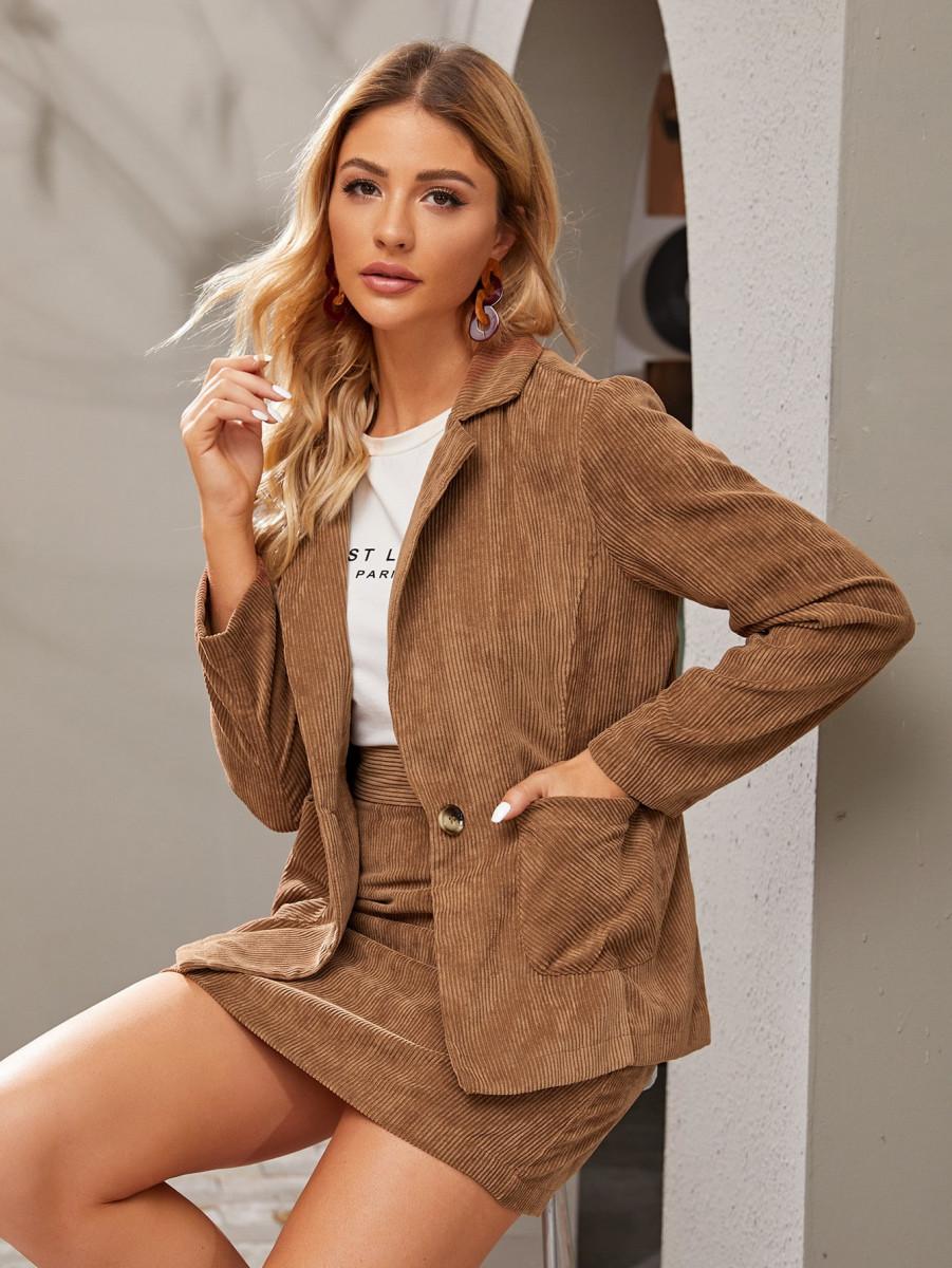 Double Button Pocket Corduroy Blazer & Skirt