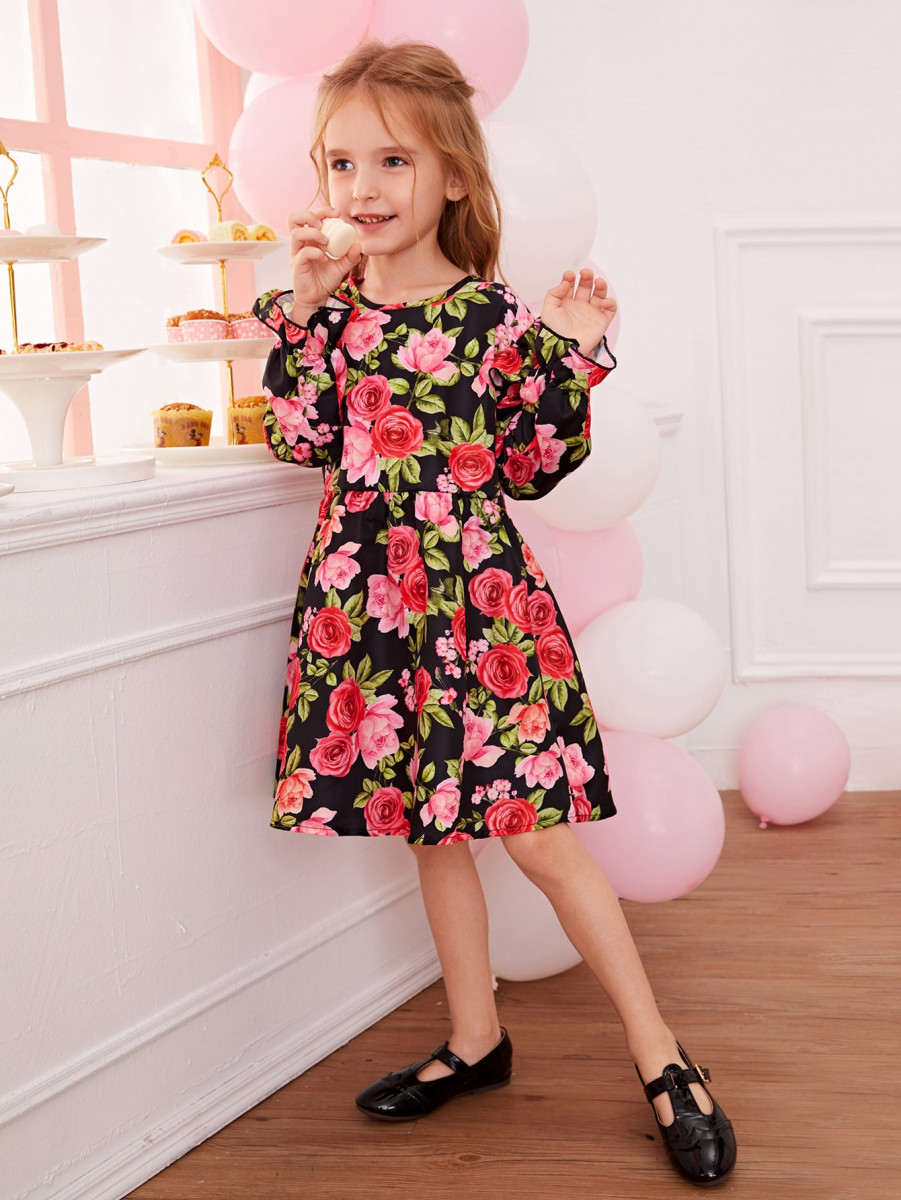 Toddler Girls Allover Floral Print Ruffle Swing Dress