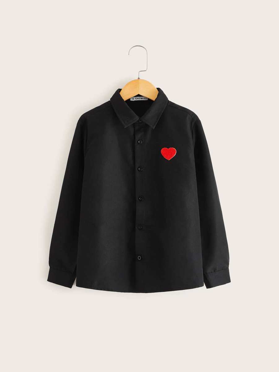 Boys Embroidered Heart Shirt