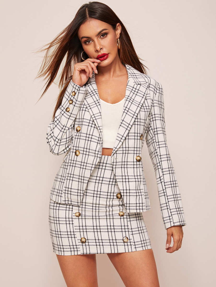 Plaid Double Button Blazer & Bodycon Skirt Set