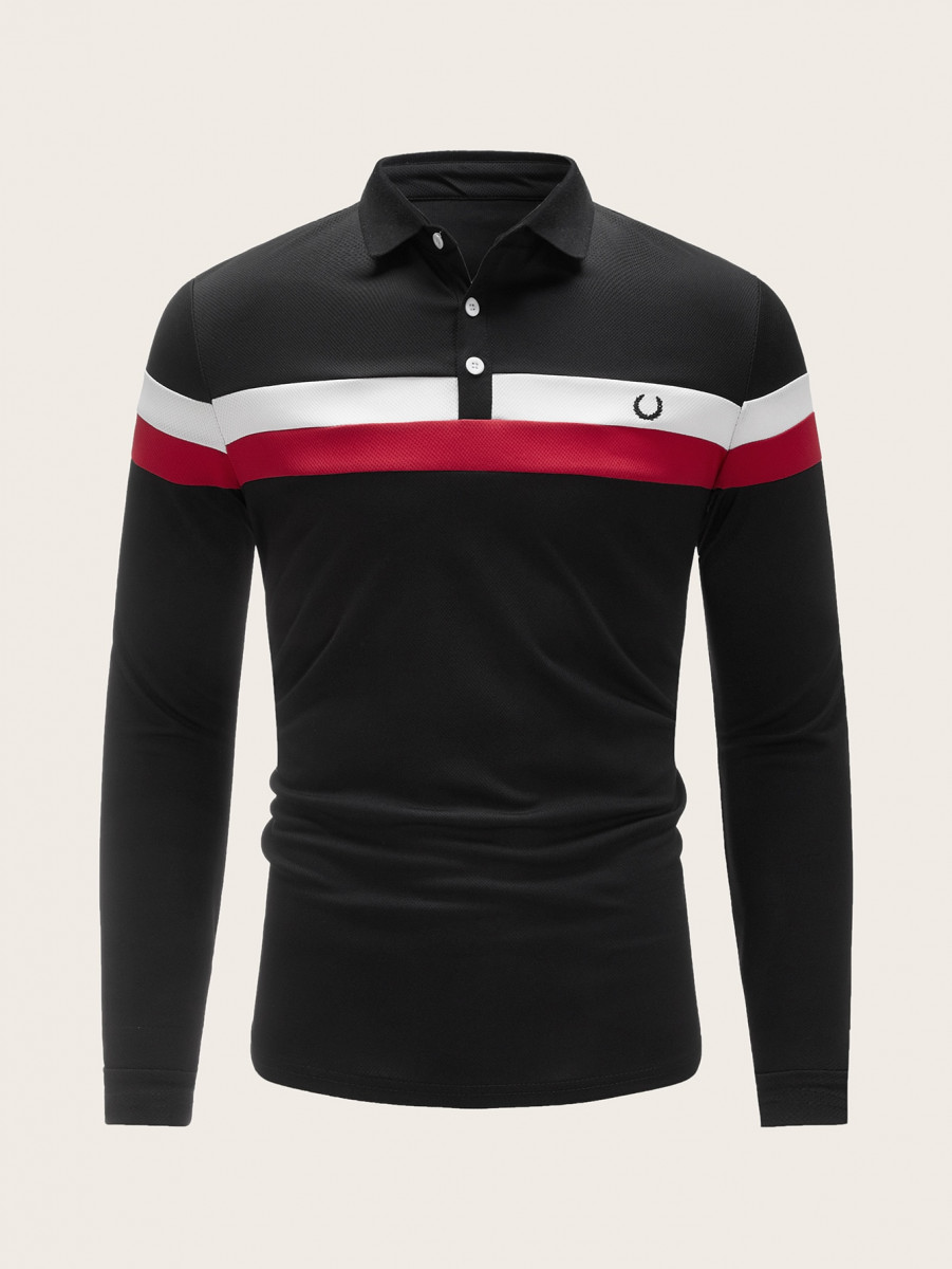 Men Cut And Sew Embroidery Polo Shirt