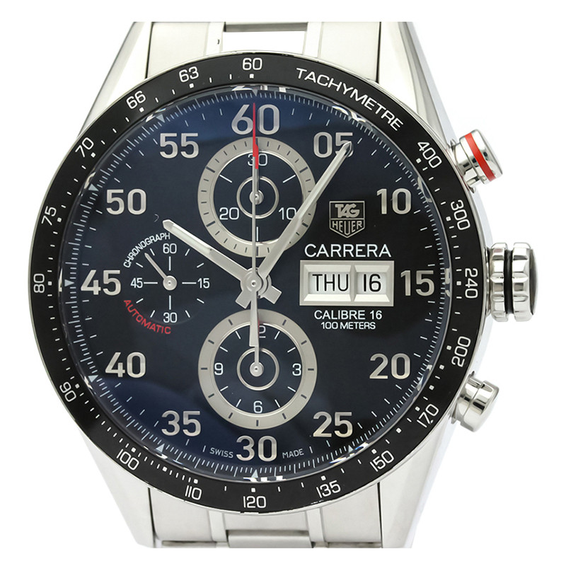 Tag Heuer Black Stainless Steel Carrera Calibre 16 Chronograph CV2A10 Men's Wristwatch 43MM