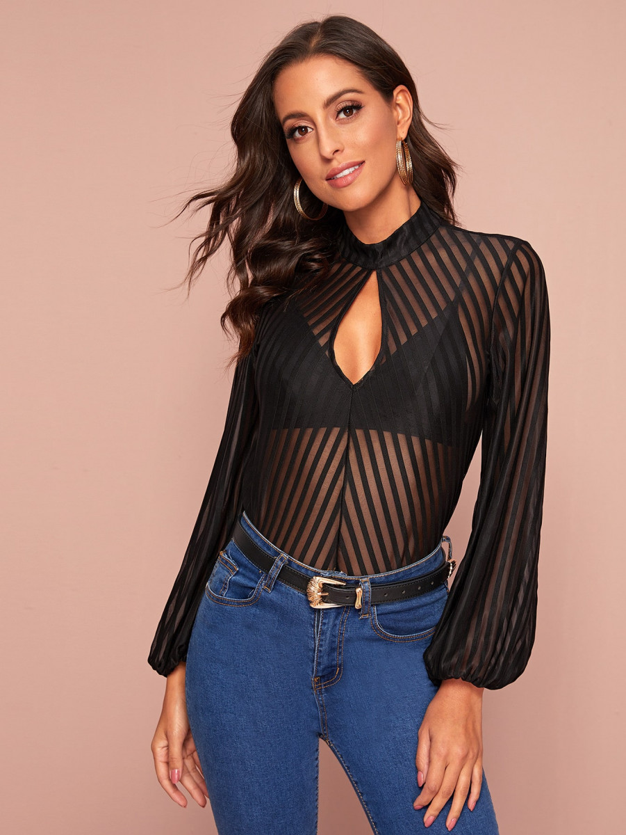 Striped Sheer Mesh Keyhole Neck Top Without Bra