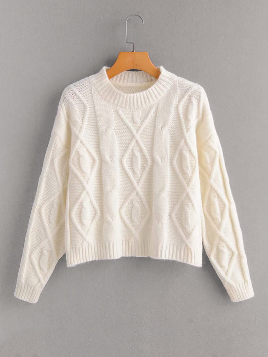 Cable And Argyle Knit Sweater