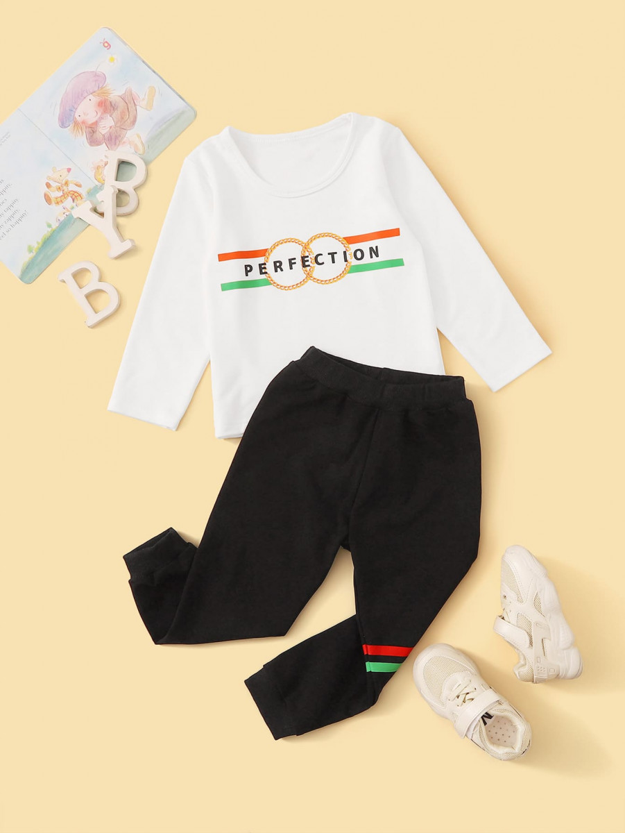 Toddler Boys Letter Graphic Tee With Sweatpants
