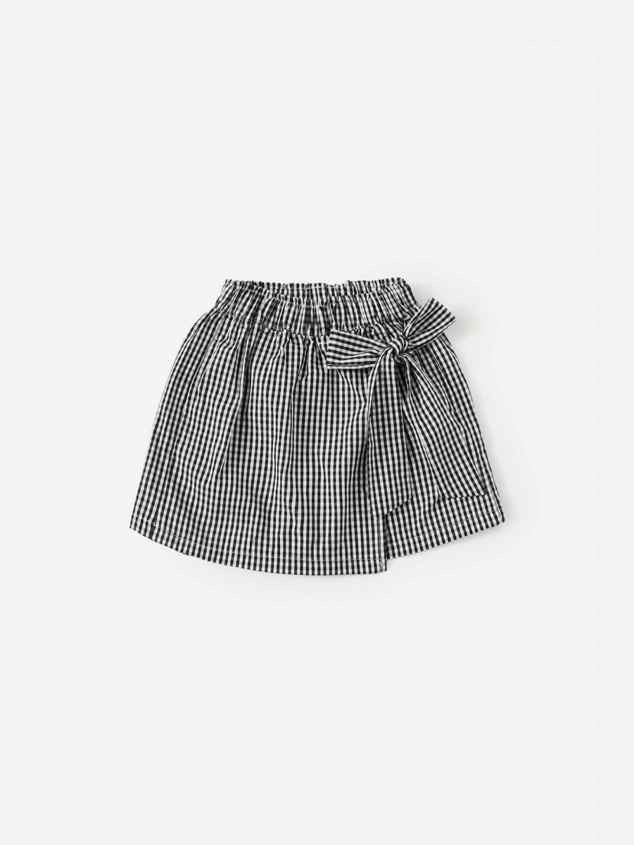 Girls Knot Side Plaid Shorts