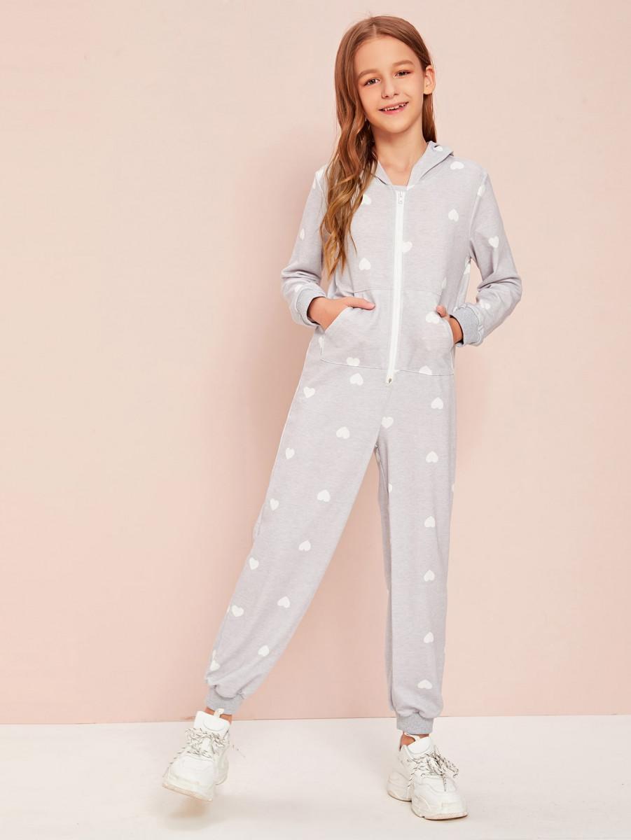 Girls Heart Print Slant Pocket Zip Front Hoodie Jumpsuit