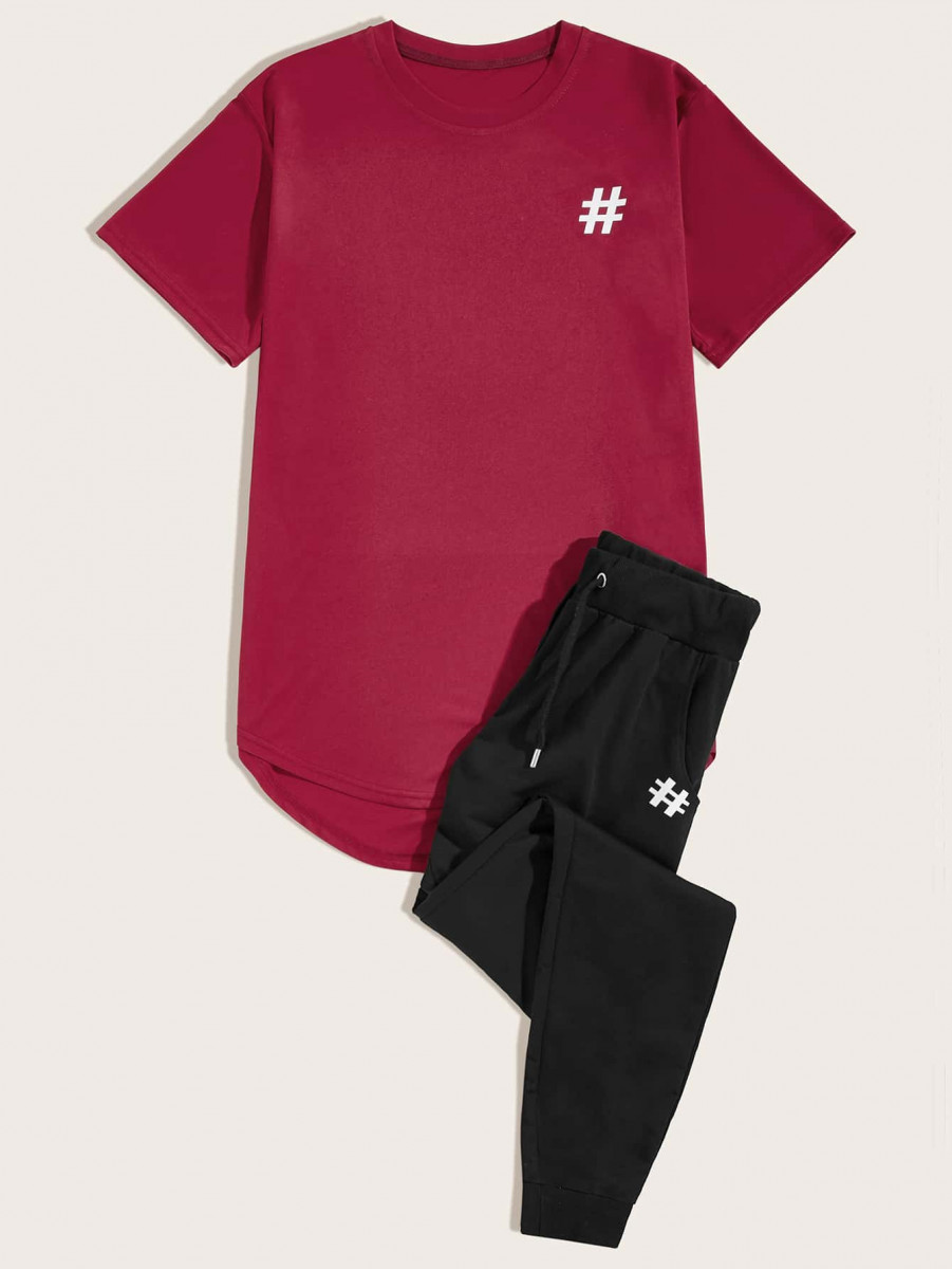 Men Graphic High Low Tee & Drawstring Pants