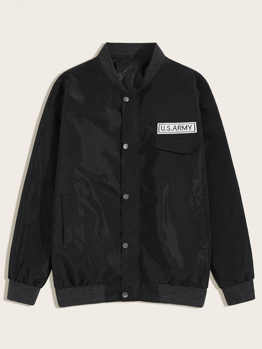 Men Letter Patched Bomber Jacket